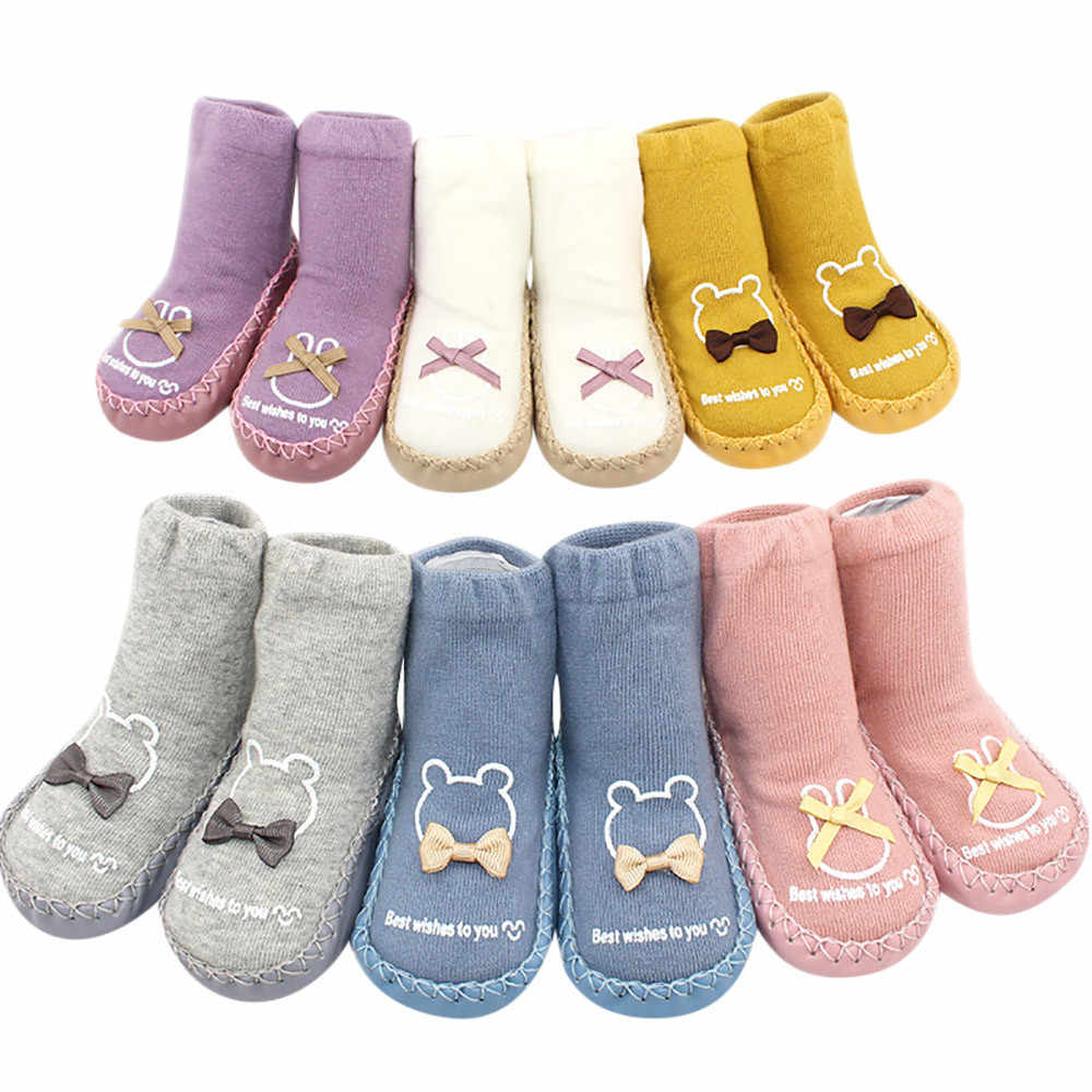 2019 Newborn winter baby socks non-slip Baby Step socks kids Cotton Baby Boys Girls Letter Bownot Floor kids sock Dropshipping