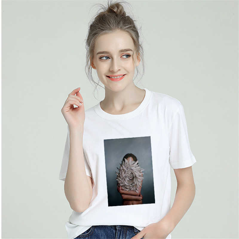 2019 Summer Cotton Harajuku Aesthetics Tshirt Women Sexy Flowers Feather Short Sleeve Tops & Tees Fashion Casual Couple T Shirt