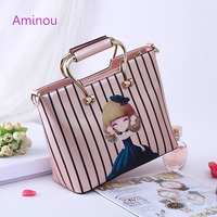 Aminou Brand Design Casual Tote Bags For Women Character Printed Handbags Lolita Style Pu Leather Tower
