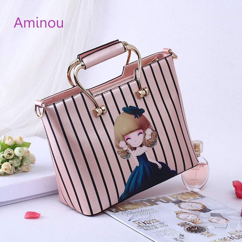 Aminou Brand Design Casual Tote Bags For Women Character Printed Handbags Lolita Style Pu Leather Tower Cute Shoulder Bag 4 in 1 composite bag female lolita style zipper leather cute bear pendant designer brand handbags for women bolsas de couro 49