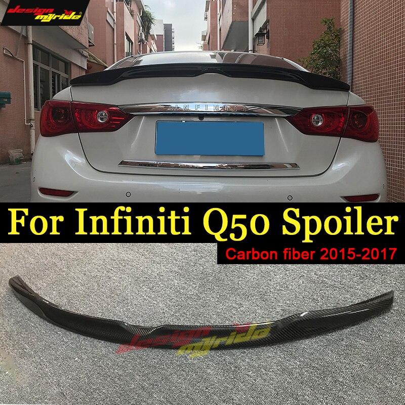 For 2014-2018 Infiniti Q50 Q50S Spoiler  Carbon Fiber 4-Door Wing Lip