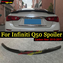 цена на Q50 Spoiler Wing Tail Sundial style Carbon fiber For  Infiniti Q50 Q50S Rear Trunk Spoiler Tail Trunk Lid Boot Lip Wing 2015-17