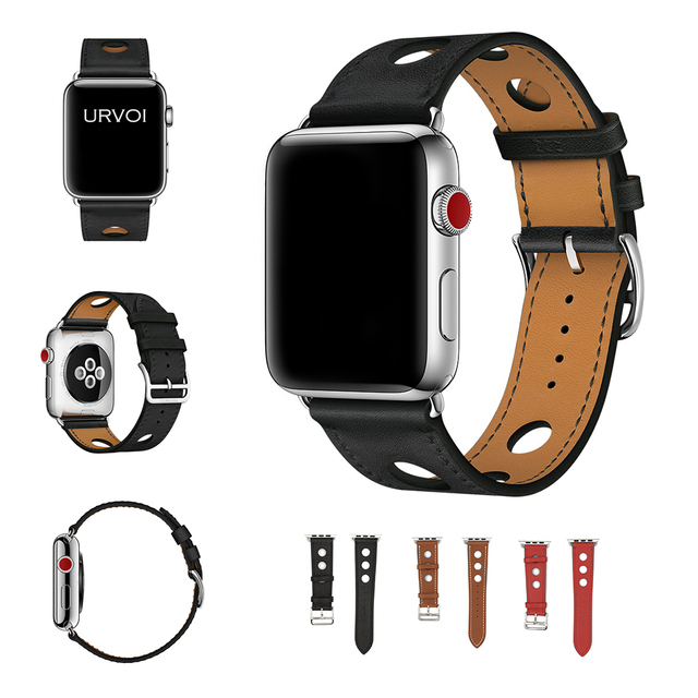 cbfb444029 US $14.58 33% OFF|URVOI Single Tour Rally band for apple watch series 4 3 2  1 strap for iwatch racing belt for Hermes watch band Noir Gala leather-in  ...