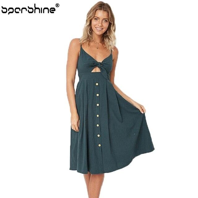 55d964c9923 Solid Color Beach Summer Dress Women 2018 Cotton Deep V Neck Buttons Off  Shoulder Dresses Sexy Bow Backless Vestidos