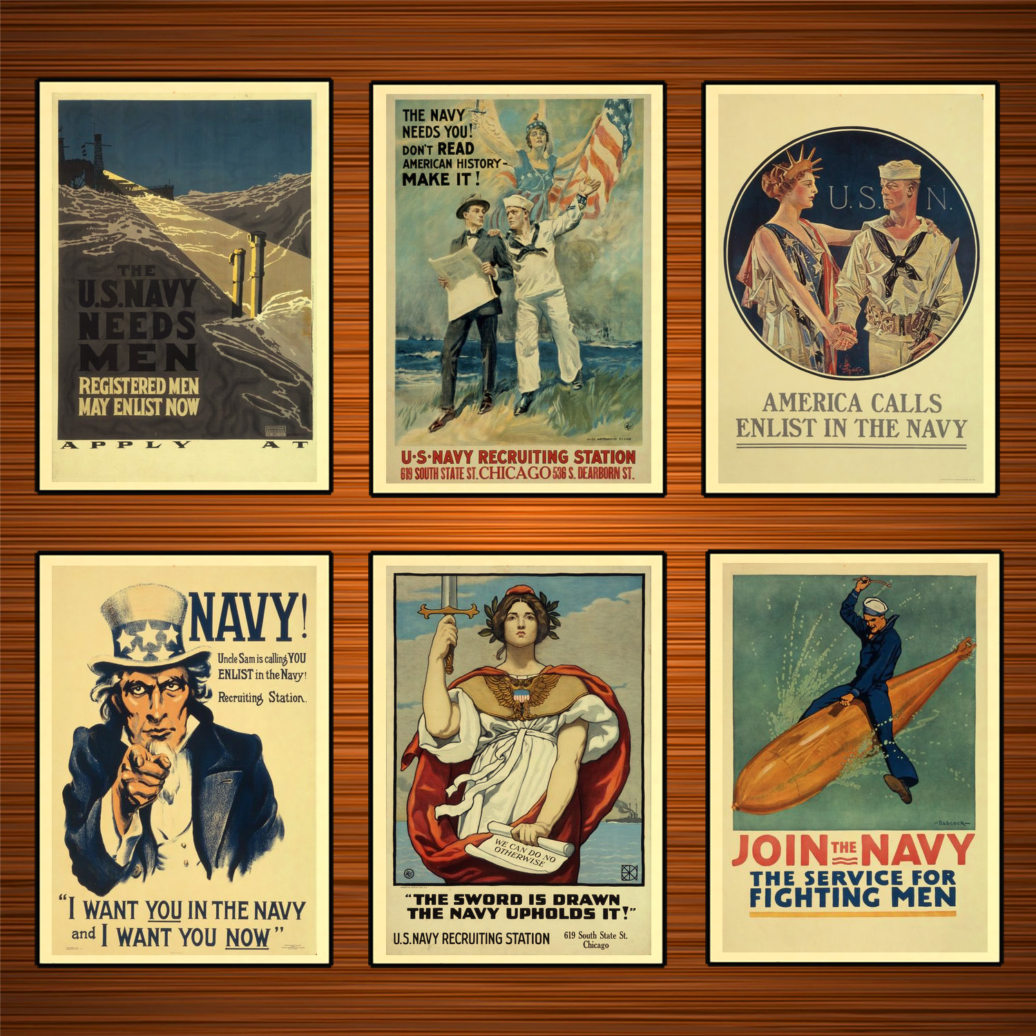 Vintage 1910s USA WW1 Propaganda Poster I Want You in The Navy Classic Canvas Paintings Wall Stickers Home Decor Gift image