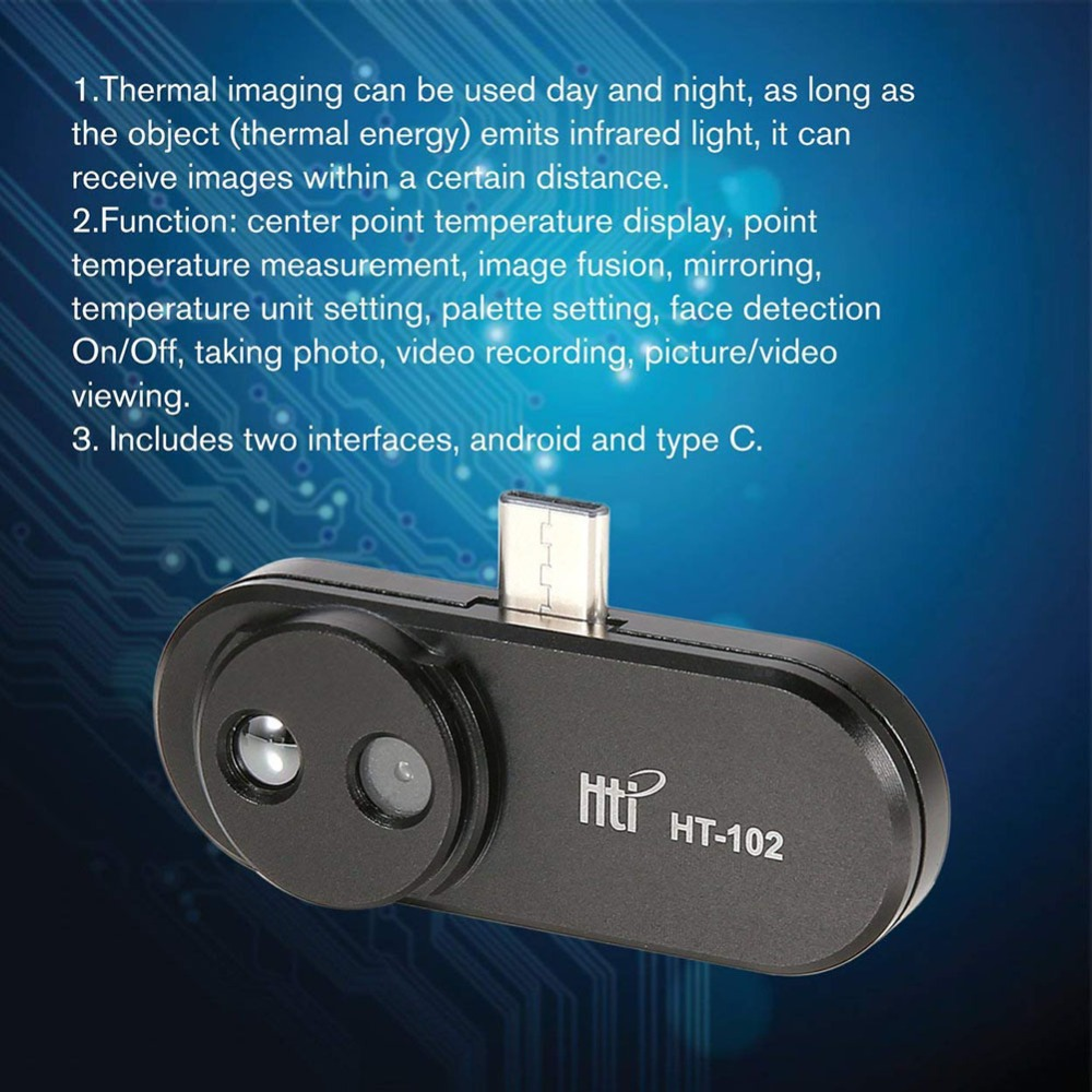 Caméra d'imagerie HT-102 imageur infrarouge vision nocturne Android téléphone Mobile imageur thermique externe - 3
