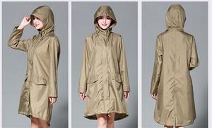 Длинный плащ женский водонепроницаемый ветрозащитный капюшон, дамские тонкие дождевые пальто куртки-пончо женские Chubasqueros Mujer capa de chuva