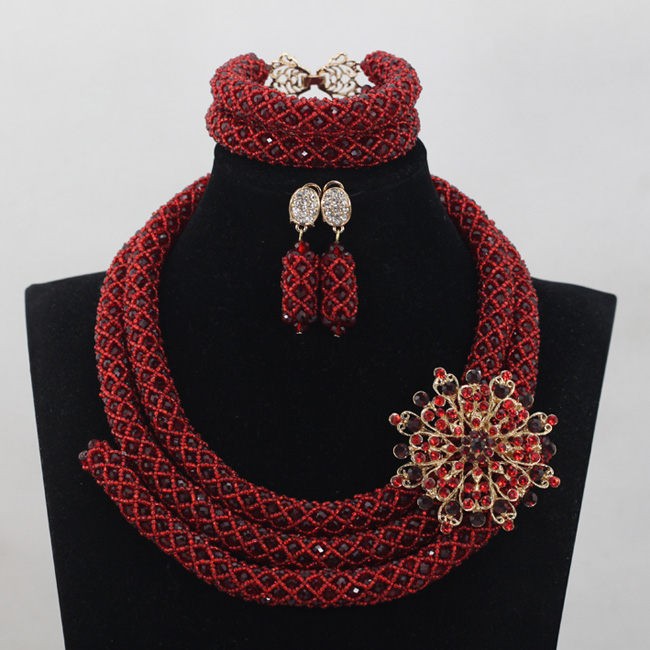 Amazing Wine Red Beads Jewelry Sets Wedding Nigerian Costume African Crystal Bridal Necklace Bracelet Earrings Jewelry ABH010