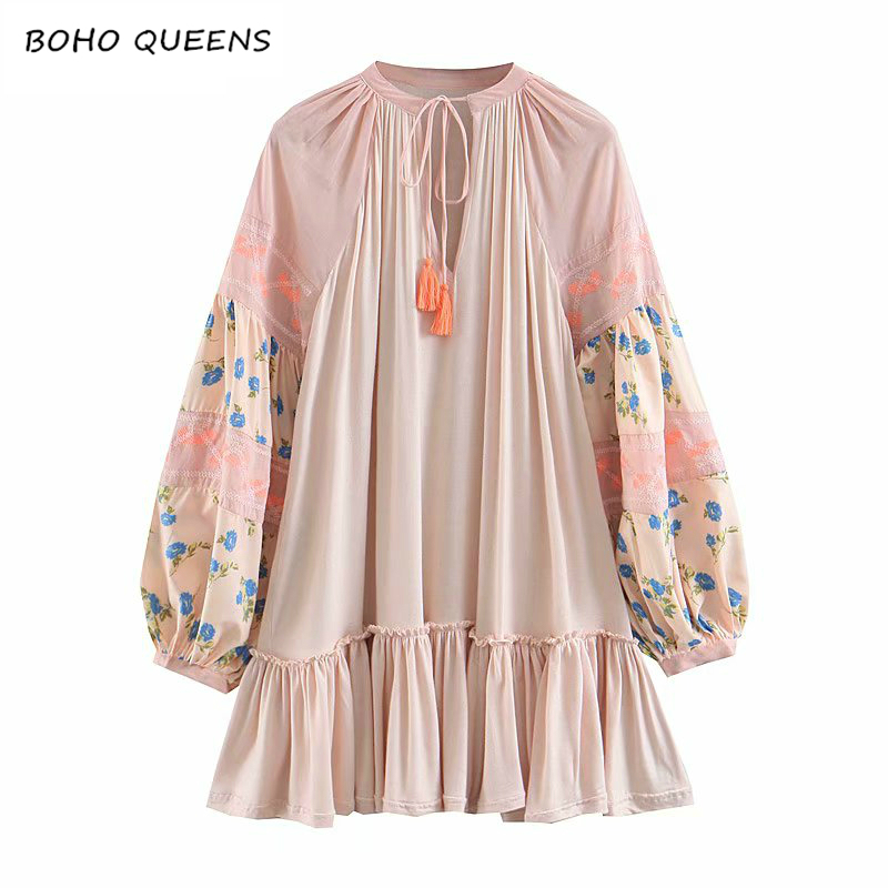Vintage Chic women Boho dress lantern sleeve Floral embroidery beach Bohemian mini dress Ladies tassel Summer