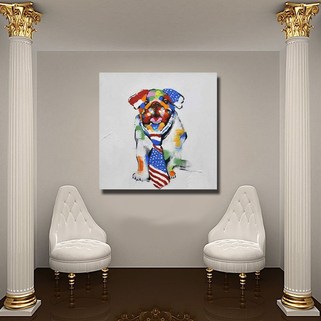 Merveilleux Chinese Pet Dog Wall Art No Framed Or With Framed Modern Wall Painting For  Bedroom Decor