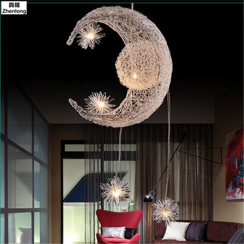 New Novelty Kid Children Room Light LED Modern Pendant Light Lamp with 5*G4 for Home Moon Star Wicker Lampe Crystal Lighting kid s room lighting modern fashion moon