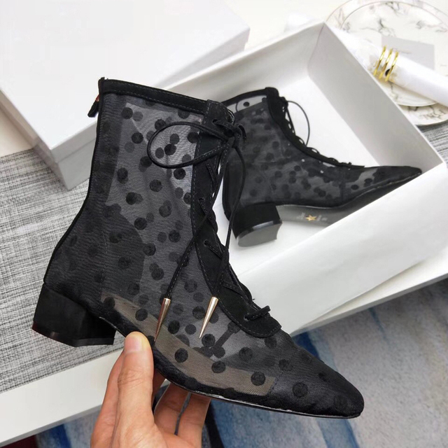 Black Polka Dot Mesh Women Sandal Boots Low Heel Lace Up Ankle Boots Women  Dress Shoes Kitten Summer Boots Breath Botines Mujer bb2270afddea