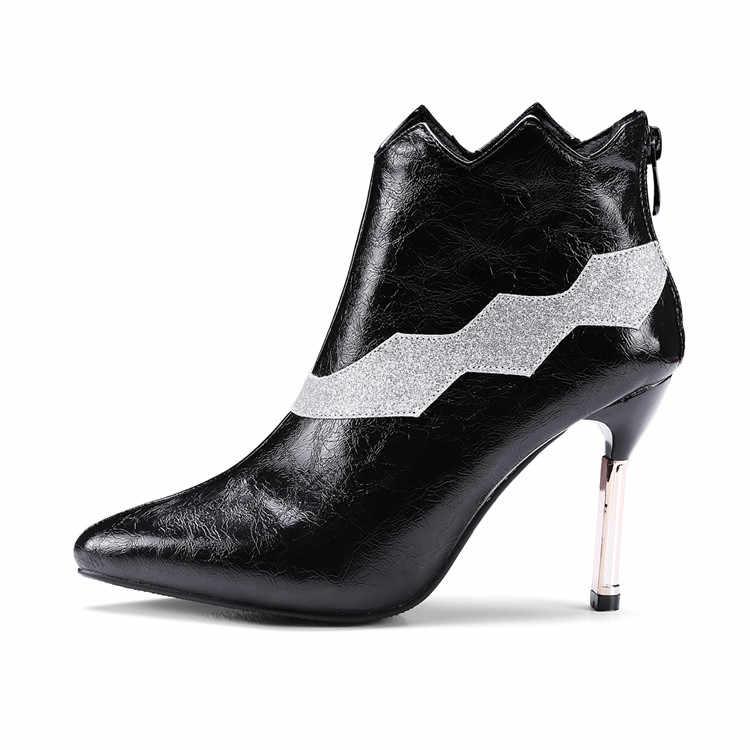 MLJUESE 2018 kadın yarım çizmeler üzerinde kayma fermuarlar kısa peluş kış siyah renk botas mujer bayan botları boyutu 34-43