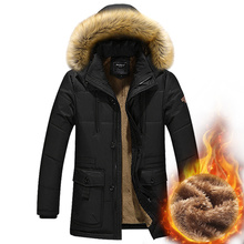 2018 Winter Men's Jackets Thick Warm Plus Size 5XL Casual Add Wool Hooded Fur Collar Parkas