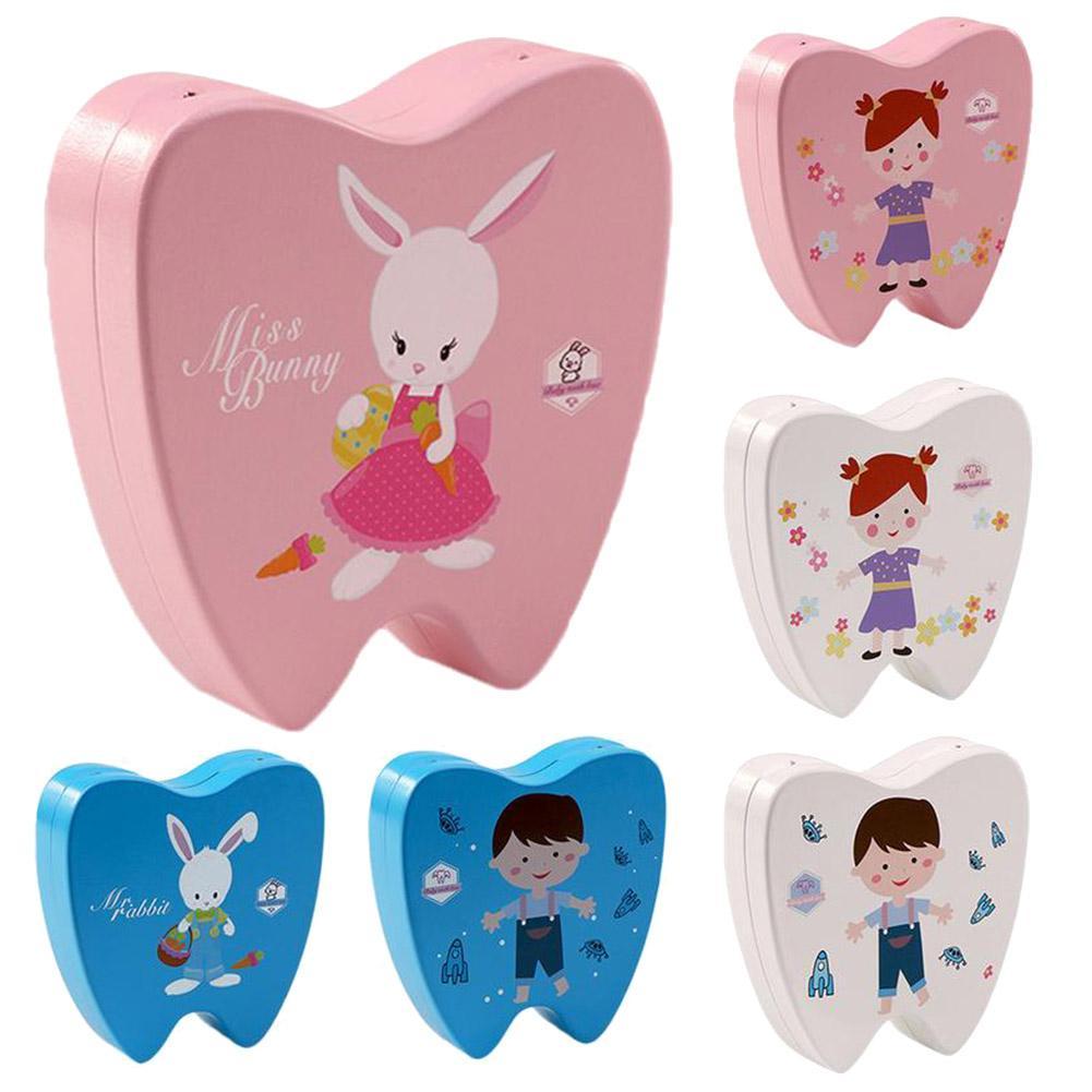 Fashion Wooden Baby Tooth Storage Box Case Boy Girl Milk Teeth Collection Organizer Gift