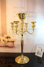 Free shipping 5 head crystal candlestick, 100%K9 crystal manufacturing, wedding decoration, home furnishing party must