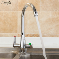 Xueqin New Twin Lever Swivel Spout Modern Chrome Kitchen Sink Basin Mixer Tap Double Handle Kitchen