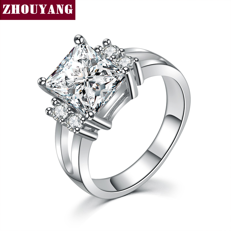 ZHOUYANG Silver Color Luxry SQUARE Wedding Ring Engagement Cubic Zirconia Jewelry For Women ZYR599