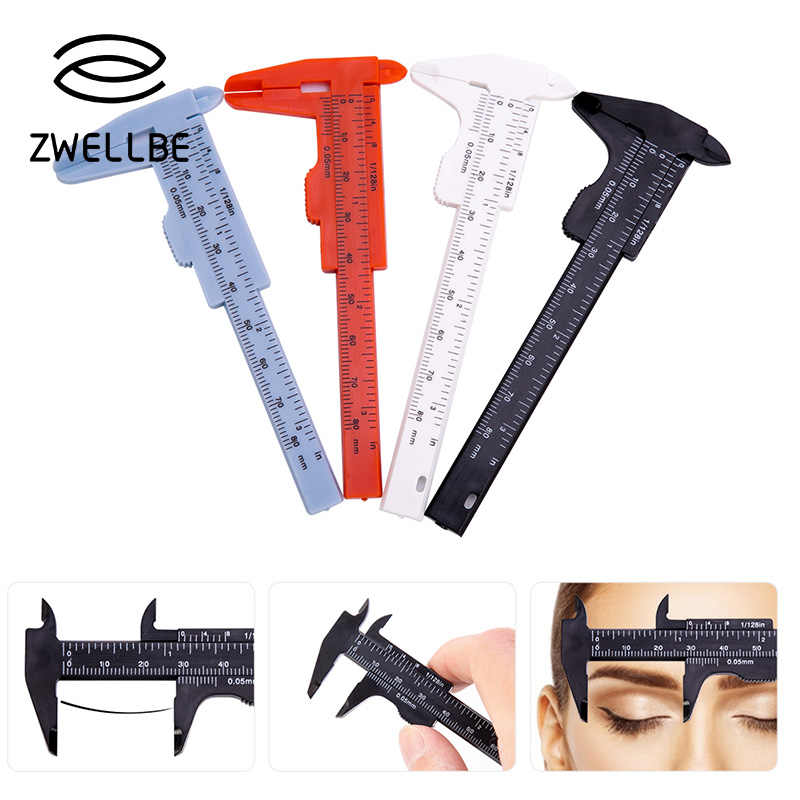 Eyebrow Guide Ruler Double Scale Sliding Gauge Reusable Tattoo Permanent Makeup Eyebrow Eyelash Measuring Ruler Plastic Caliper