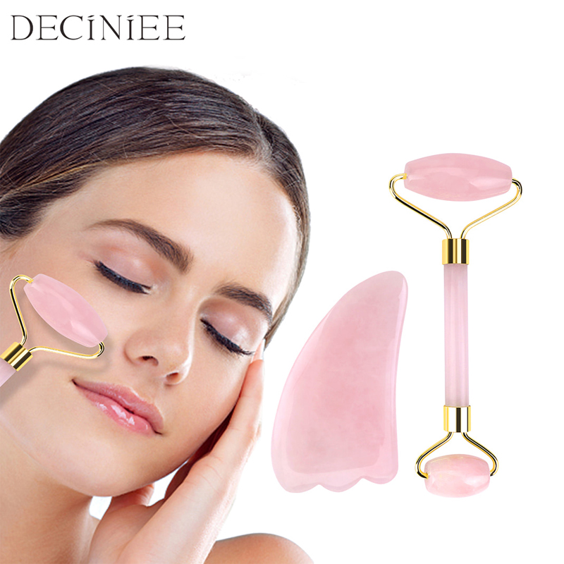 Portable Rose Quartz Facial Massage Crystal Stone Facial Lift Jade Massager Roller Skin Care Roller Wrinkle Removal Beauty Tool
