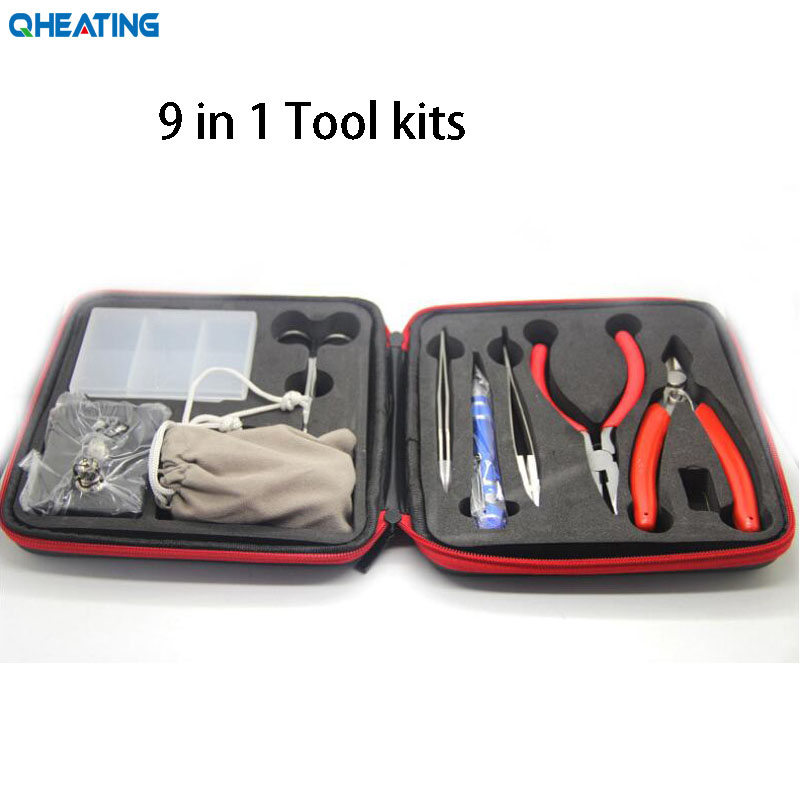 Qchauffage électronique Cigarette bricolage trousse à outils bobine gabarit pince à épiler pour RDA RDTA RTA E Cig accessoires Vape sac enroulement Kit