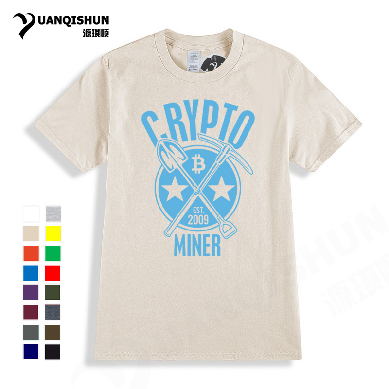 2018 New Bitcoin T-Shirt Crypto Miner Funny Printing T Shirt BTC Cryptocurrency Fashion Street Cotton Tops Tee Free Shipping Hot