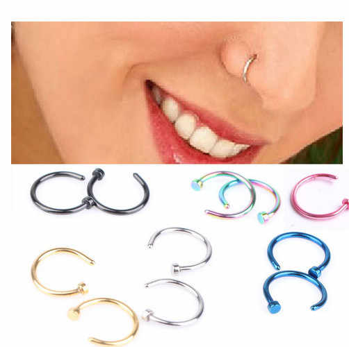 Fake Piercing Medical Nostril Titanium Gold Silver Nose Hoop Nose Rings clip on nose ring Body  Jewelry For Women