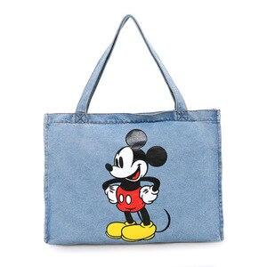 Image 4 - Disney Mickey Mouse Cartoon Large Capacity Shopper cowboy Shoulder bag lady handbag women shopping Leisure bag Fashion street
