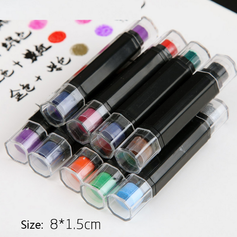 1.5*8cm Double Strip Pure Color Color Ink Pad Mini Sponge DIY Stamp Ink Pad Stationery School Supplies