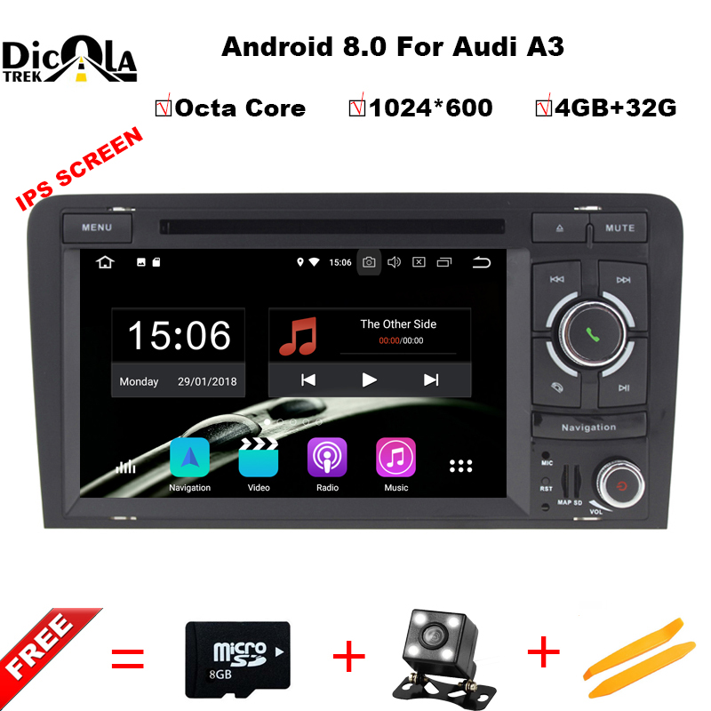 цена на Android 8.0 4+32G 7 2 DIN Car DVD Player GPS Navigation Radio Canbus USB SD for Audi A3 8P/A3 8P1 3-door Hatchback/S3 8P/RS3