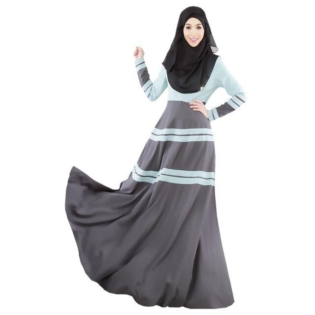 Stylish Women Kaftan Abaya Jilbab Islamic Muslim Elegant Long Sleeve Maxi  Dress 3 Colors fe8fc59ba9b4