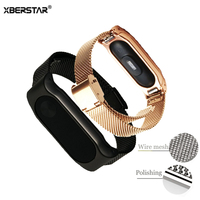 Milanese Stainless Steel Wrist Bands Strap For Xiaomi Mi Bands 2 Smart Wristband Bracelet Heart Rate