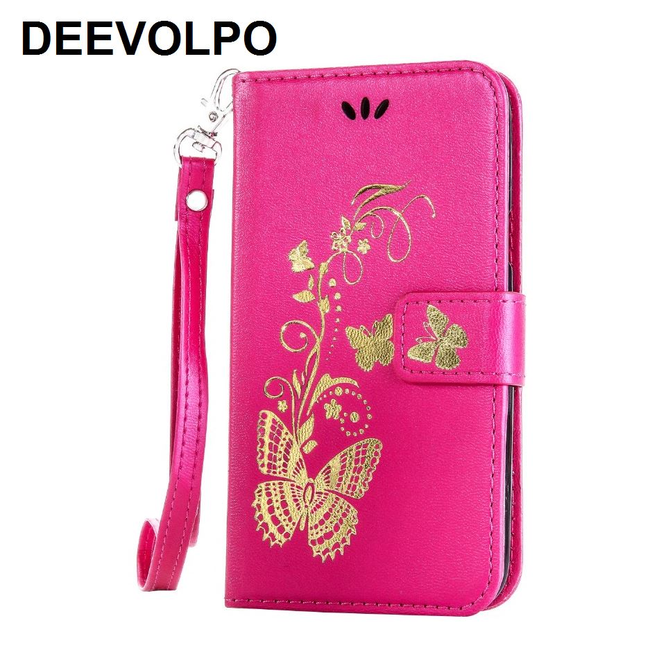 DEEVOLPO Card Slot Leather Covers Butterfly For iPhone X 8 7 6S Plus 8+ 7+ 6+ 5C 5S SE Touch 6 5 Book Fundas Phone Bag Capa D02Z