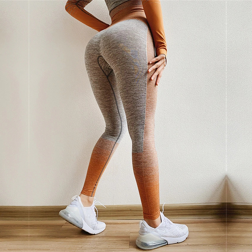 Amplify Seamless Leggings For Women Gym Tummy Control Outfits Trousers High Waisted Yoga Pants Ombre Stripe