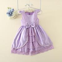 New Arrival Girl Ball Gown Princess Dress Pink Bow Short Sleeve Pageant Flower Girls Dresses Long