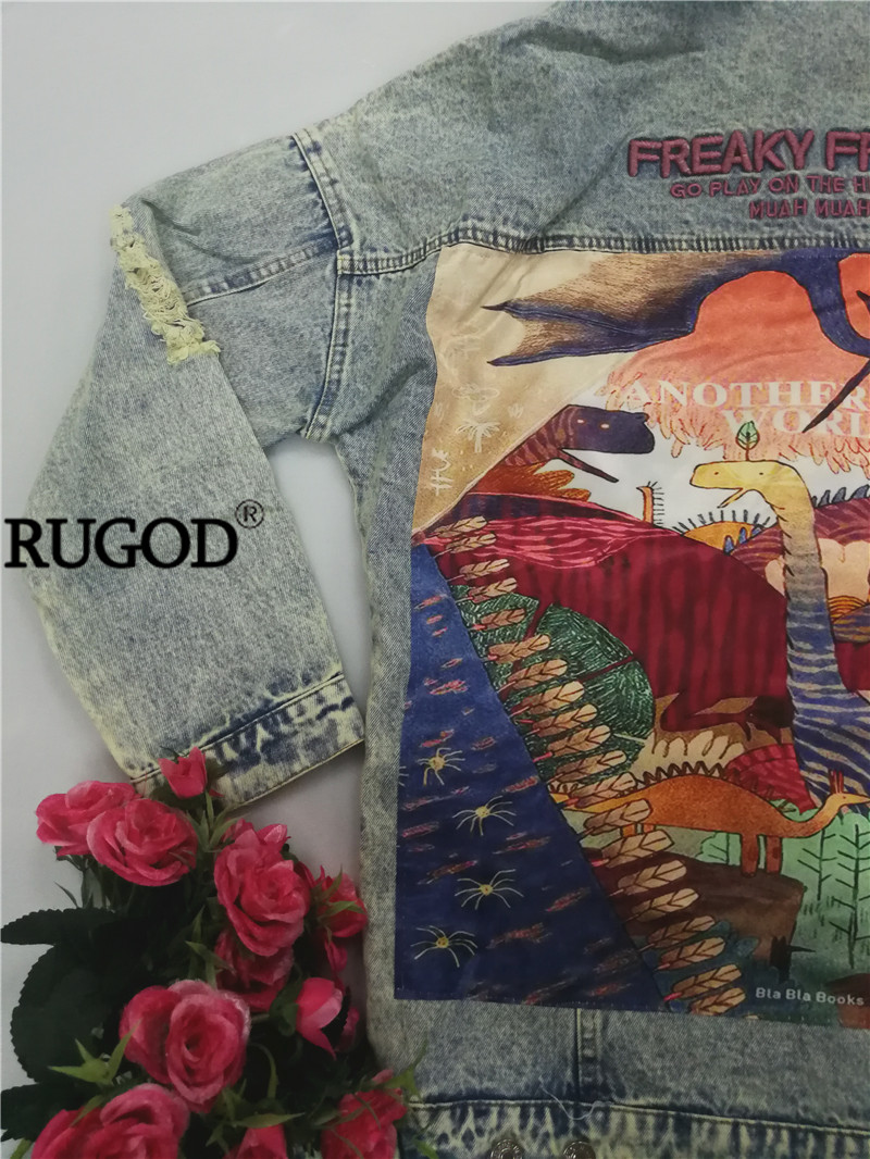 HTB1CUjCcRCw3KVjSZR0q6zcUpXaY RUGOD 2019 New Autumn Funny Cartoon Print Long Denim Jacket Women Vintage Streetwear Punk Style Jean Jacket casaco feminino