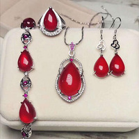 Fine Woman Girl Party Gift Jewelry set, 925 silver Natural jade medullary Necklace Earrings Ring Bracelet sets