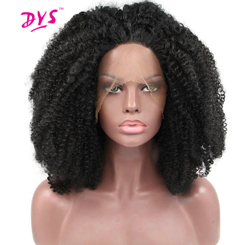 Deyngs Black Lace Front Wigs For Black Women Short Afro Kinky Curly Natural Synthetic Black Color Heat Resistant Full Hairstyle