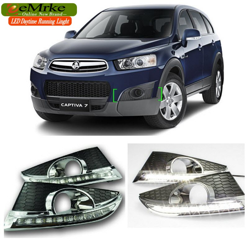 eeMrke Car LED DRL For Chevrolet Captiva 2010-2013 High Power Xenon White Fog Cover Daytime Running Lights Kits  недорого