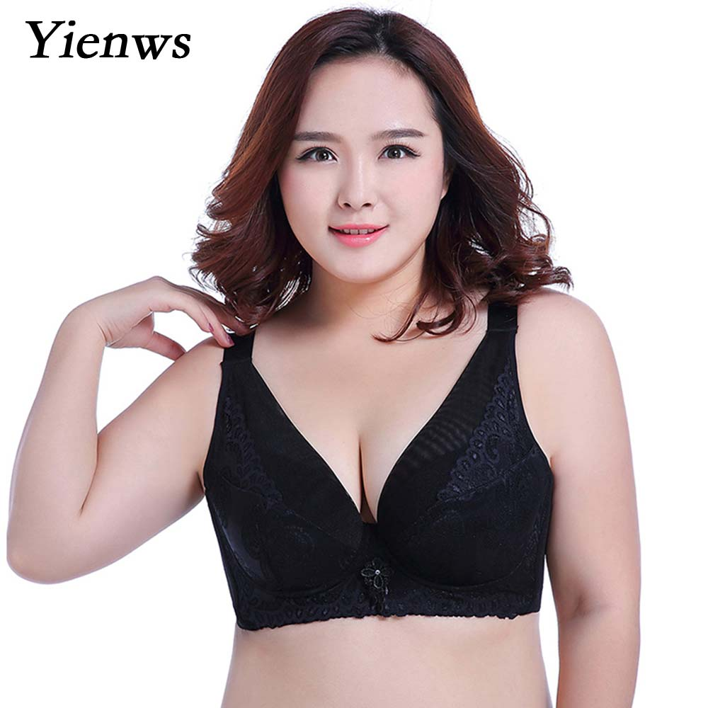4f815055a Yienws Women Bras for Large Sizes Sexy Full Cup Laces Bras Big Bralette E F  Cup Plus Size Bra Brassiere Femme YID009