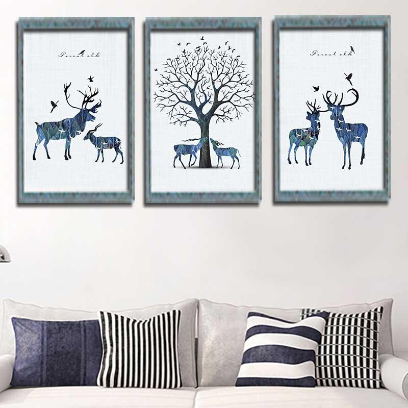 5D DIY Diamond Painting Kit Embroidery, Full Round Drill, Two Reindeers Tree Rhinestone Cross Stitch Kit Wall Craft Home Decor