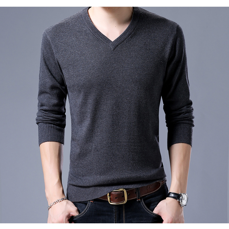 New Mens Wool Sweater Pullover Solid Color Fashion Casual V Neck Basic Knit Tops for Autumn Winter 17061
