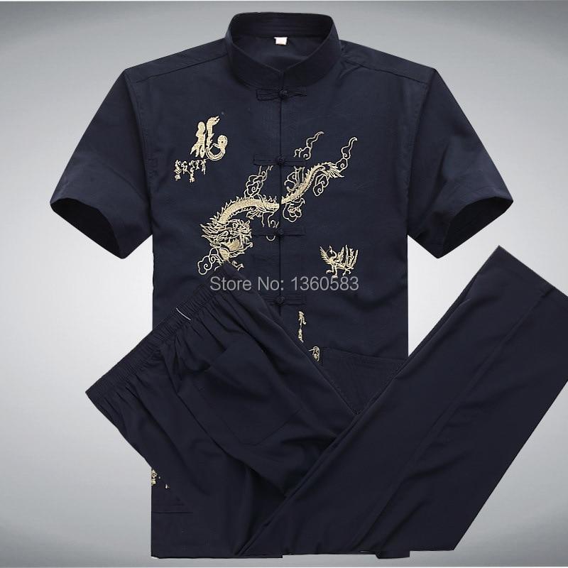 Традиционная китайская мужчин кунг-фу костюм боевые искусства равномерное старинные тай чи костюма + брюки устанавливает 4 цветов размер ml XL XXL XXXL