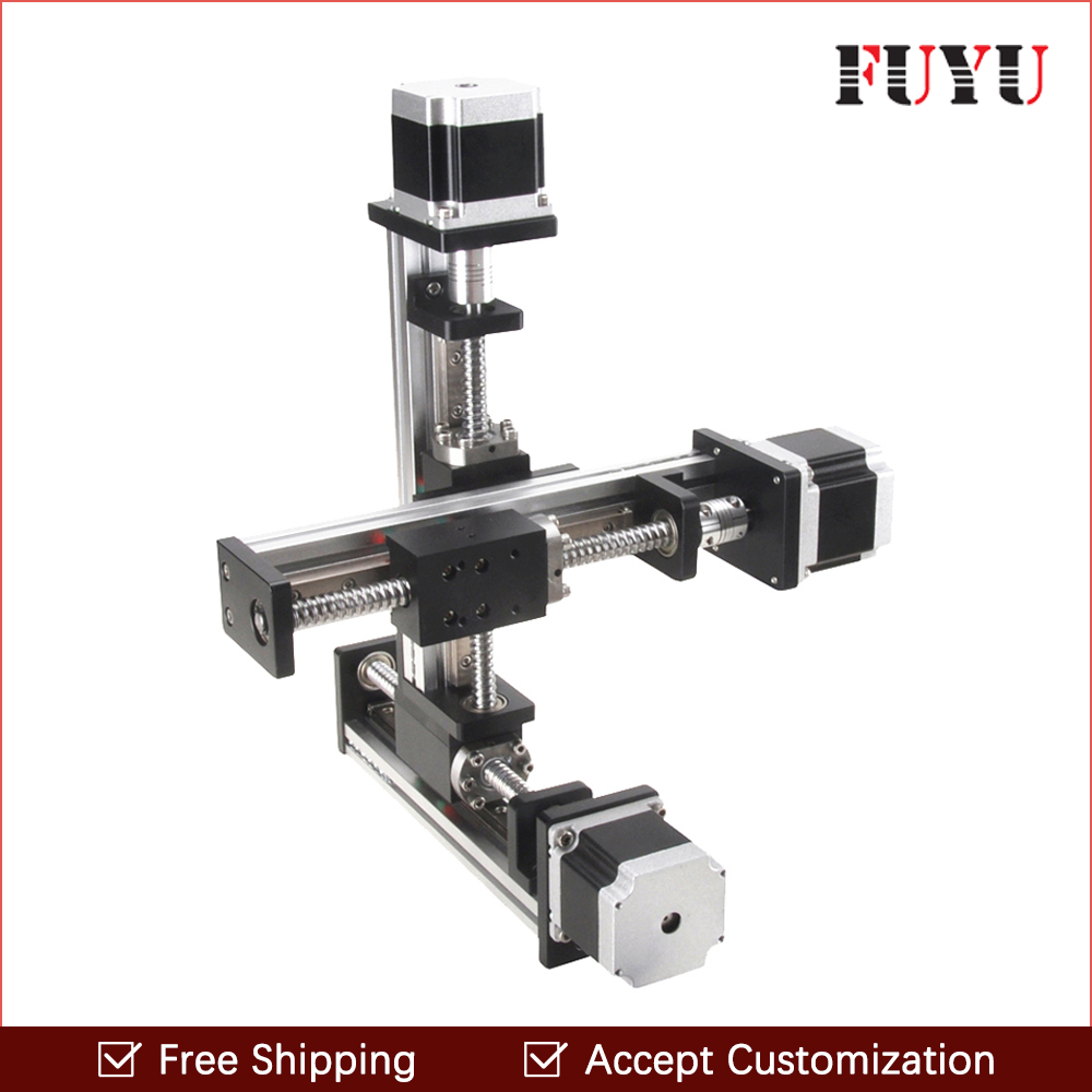 Free shipping linear rail guide ball screw with motor driven Y axis 300mm diy x y z axis router for cutting machine free shipping 100 1500mm linear guide rail slide module ball screw and motor for 3d printer parts kit and cnc engraver machine