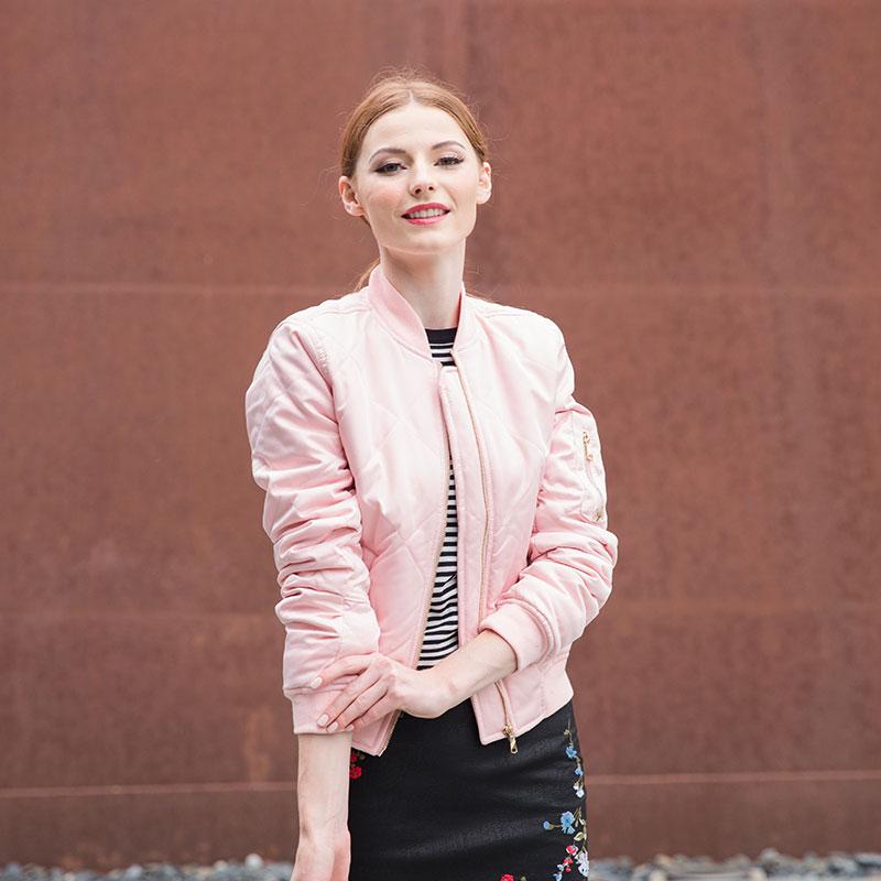 HTB1CUjdXaagSKJjy0Fbq6y.mVXar Bella Philosophy autumn winter quilting bomber jacket women coat zipper long sleeve winter jacket cotton-padded pink outwears