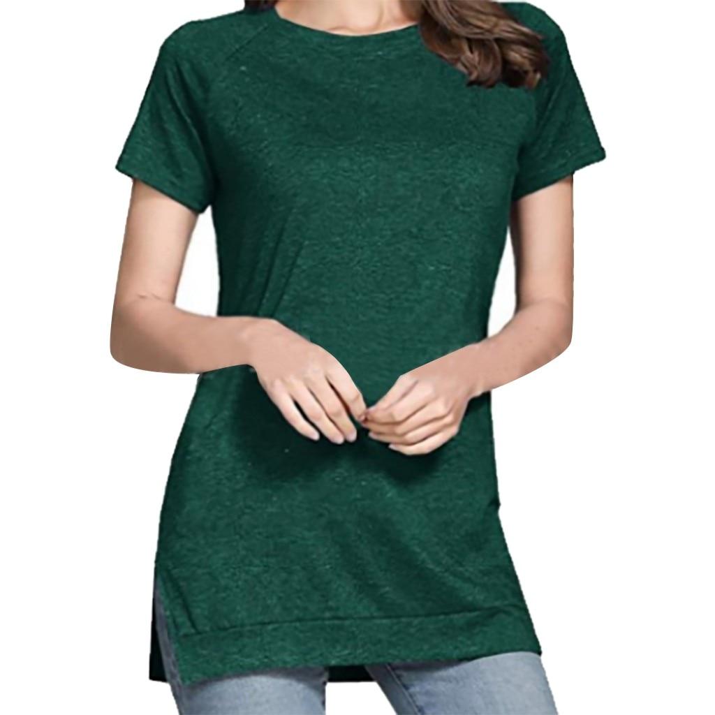 Summer T Shirt Women Pure Color Casual Wild Tees Round Neck Split Short Sleeve Basic Top Green Purple T Pokemon футболка женска