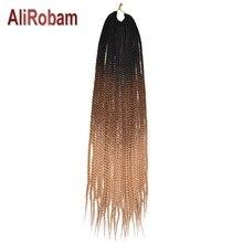 """AliRobam 2"""" Длинные коробки косички крючком косички синтетическое волокно крючком чистый/Омбре Коричневый Плетение волос для наращивания 22 корня/упаковка"""