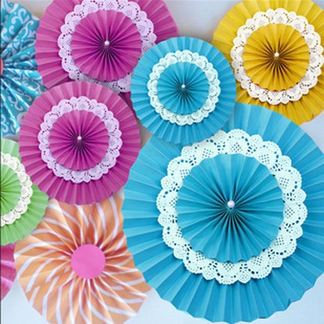 "New 5pcs Tissue Paper Fan Diy Crafts Hanging Wedding: 5pcs/lot 8""(20cm) Tissue Paper Fan Flowers Three Layers"