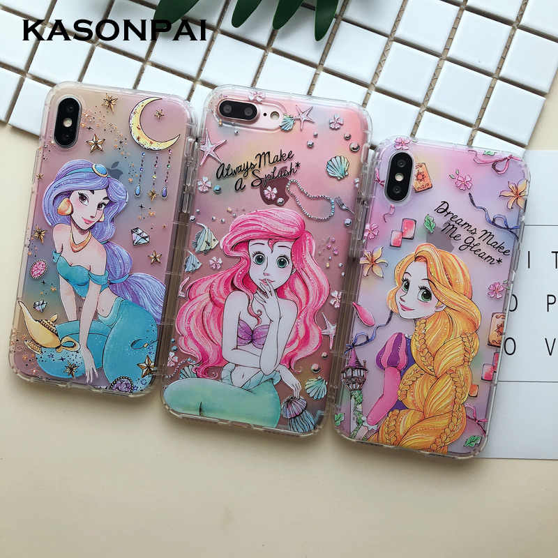 3D Cartoon Alice Princess Mermaid Phone Case For iPhone 8 7 6S 6 Plus Cute Soft TPU Back Cover Clear Case For iphone X Xs Max XR