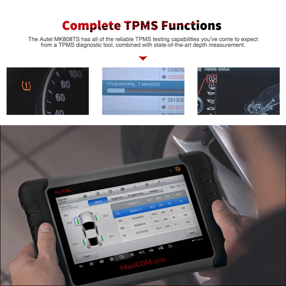 Image 4 - Autel MP808TS Diagnostic Tool Wifi Bluetooth OBD OBD2 TPMS Tool Programmer AUTEL MX Sensor PK DS808 MK808 Automotive Scanner-in Engine Analyzer from Automobiles & Motorcycles